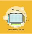 paper sketchbook pen pencil and ruler concept vector image vector image