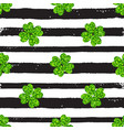 pattern with black lines and green clover vector image vector image