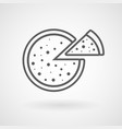 pizza line icon on white background vector image vector image