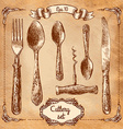 Retro transparent silverware icons sketch style vector image