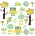 romantic owls retro seamless pattern it is vector image vector image