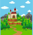 scene with castle tower in the field vector image vector image
