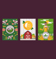 set farm banners in flat style vector image vector image