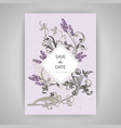 set of card with flower lavender leaves wedding vector image