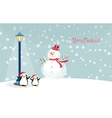snowman with penguins vector image vector image