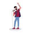 soloist karaoke singer sings in mic song record vector image