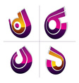Three-dimensional colorful graphical icons set vector image vector image