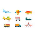 transport icons air transport river and sea vector image vector image