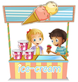 Two young kids at the ice cream stand vector image