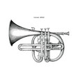 vintage cornet hand drawing engraving the vector image