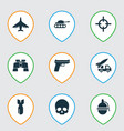 warfare icons set with artillery bomb sniper and vector image vector image