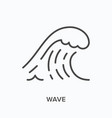 wave flat line icon outline vector image