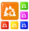 wolf forest howl icons set color vector image