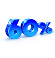glossy blue 60 sixty percent off sale isolated vector image