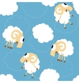 Seamless pattern with cute funny sheep vector image