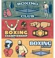 Boxing Horizontal Banners Set vector image