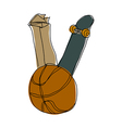 A basketball with skateboard vector image vector image