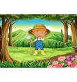 A young gardener at the forest vector image vector image