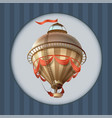 balloon retro blimp ship with flag greeting card vector image