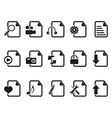black Files and Documents icons set vector image vector image