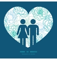 blue line art flowers couple in love silhouettes vector image vector image