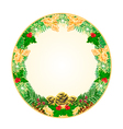 Button circular Christmas Spruce with pinecones vector image vector image