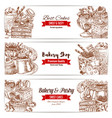 cakes sketch banner for bakery and pastry design vector image vector image