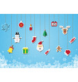 christmas sticker icon hanging background vector image vector image