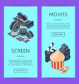cinematograph isometric web banner vector image vector image