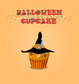 cute happy halloween cupcake with witch hat and vector image