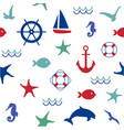 cute marine life seamless pattern vector image