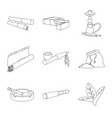 design equipment and smoking icon set vector image vector image