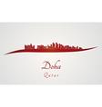 Doha skyline in red vector image