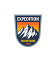 expedition mountains - concept badge vector image vector image
