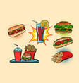 fast food set collection hot dog burger cola vector image vector image