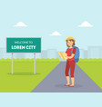 female hitchhikertraveling with backpack and map vector image