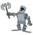 Funny knight with a war axe vector image