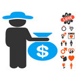 gentleman investor icon with valentine bonus vector image
