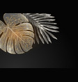 golden monstera and palm leaves luxury template vector image vector image