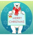 Greeting Card with Polar bear vector image vector image