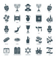 hanukkah icons set judaism symbols collection vector image
