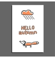 Hello autumn greeting card with rainy cloud and vector image