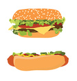 Hotdog and burger vector image vector image