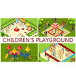 isometric kids playground composition vector image vector image