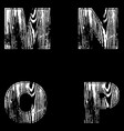 m n o p letters white on a black background wood vector image