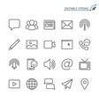 media and communication line icons editable stroke vector image