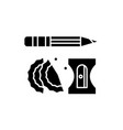 pencil and sharpener black icon sign on vector image