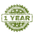 scratched textured 1 year stamp seal vector image vector image