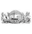 seal colonial new hampshire in 1629 vintage vector image vector image