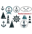 Set of nautical heraldry themed elements vector image vector image